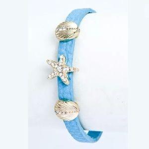 ❤️ Blue Faux Leather Seashell Starfish Bracelet